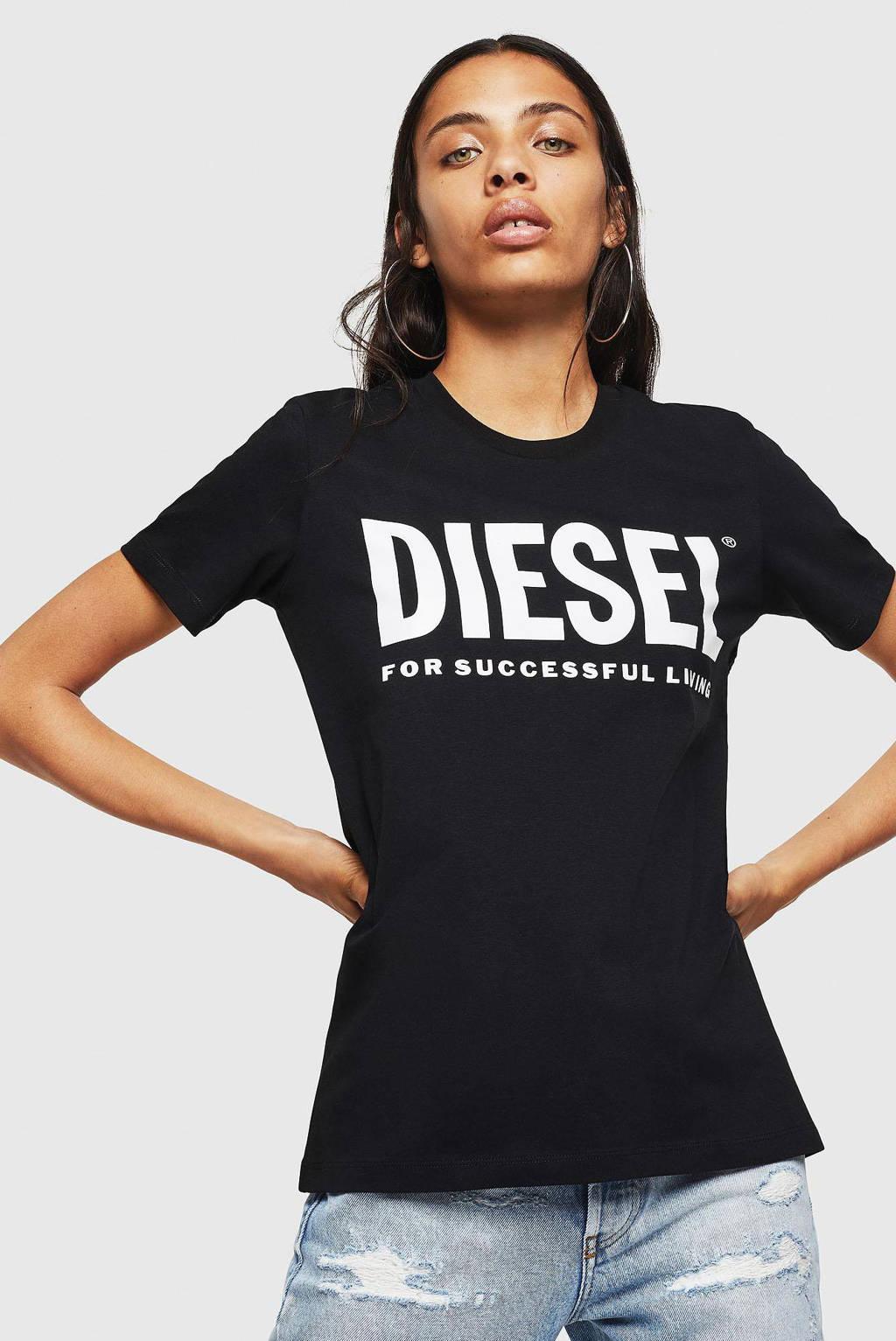 Diesel T-shirt T-SILY-WX met logo zwart, Zwart