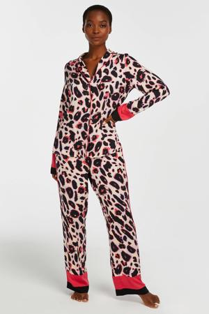 pyjamabroek met all over print roze/zwart