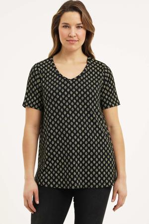 T-shirt Alba Essential met all over print zwart/zand