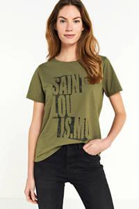 FREEQUENT T-shirt met tekst groen, Groen