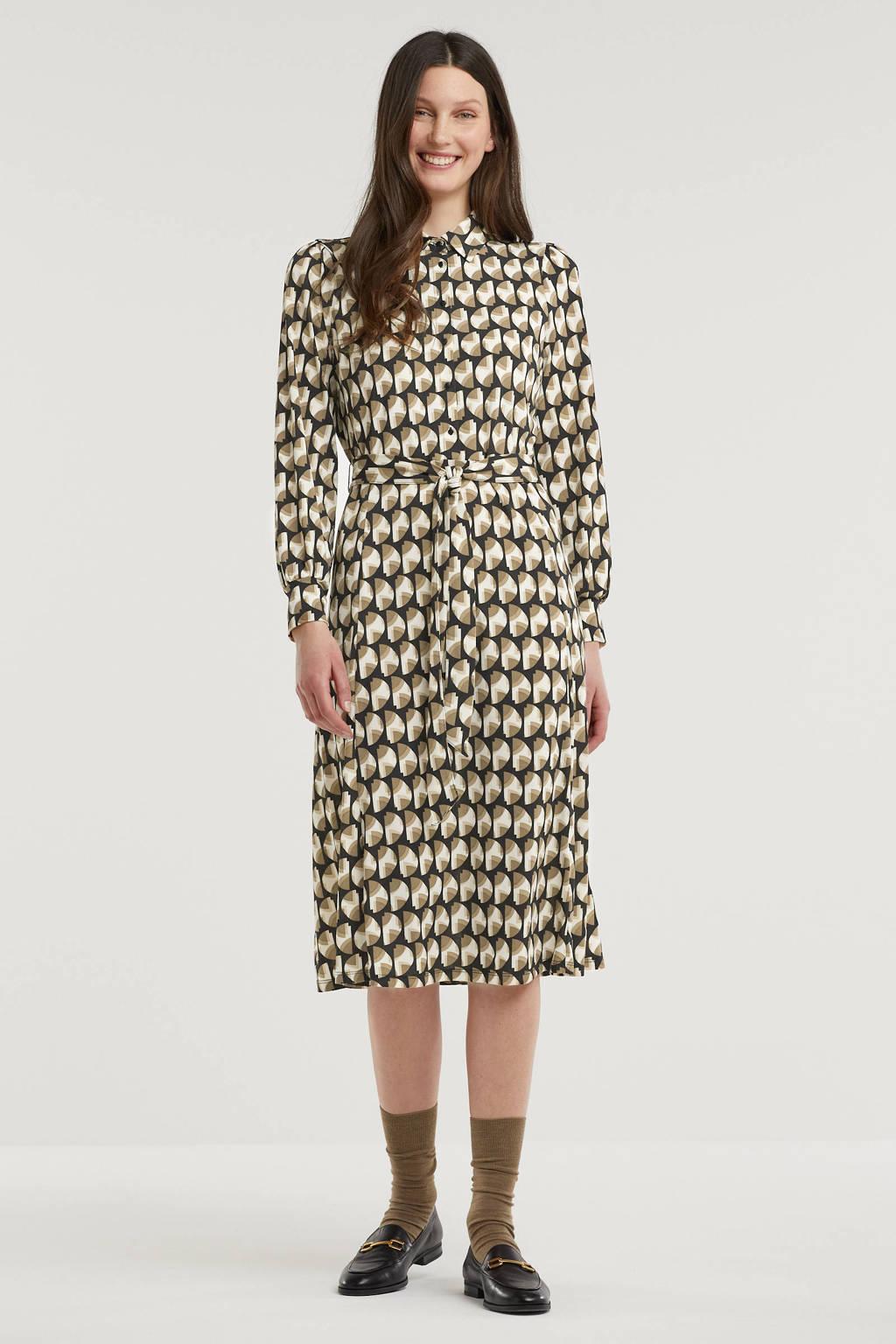FREEQUENT blousejurk met all over print en ceintuur beige/zwart, Beige/zwart