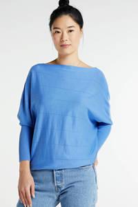 FREEQUENT trui met vleermuismouwen blauw, Blauw