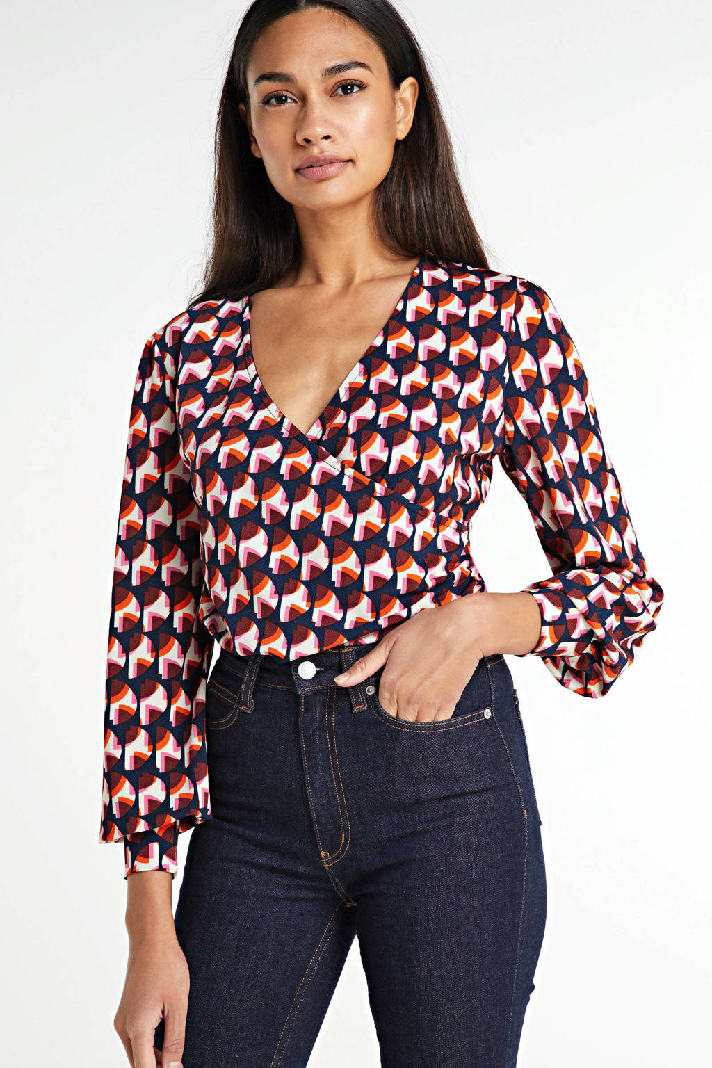 FREEQUENT top met all over print en overslag detail rood, Rood