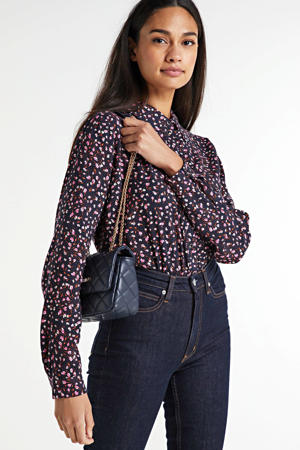 blouse met all over print donkerblauw/multi