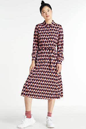 blousejurk met all over print en ceintuur rood/blauw
