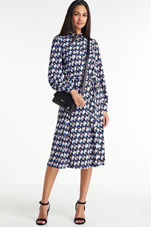 blousejurk met all over print en ceintuur blauw/zwart/wit