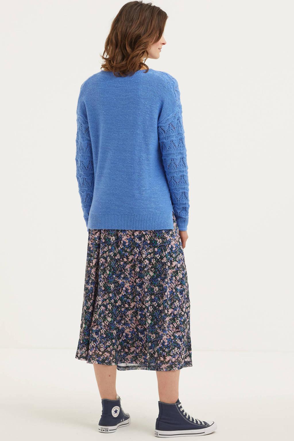 FREEQUENT grofgebreide trui blauw, Blauw