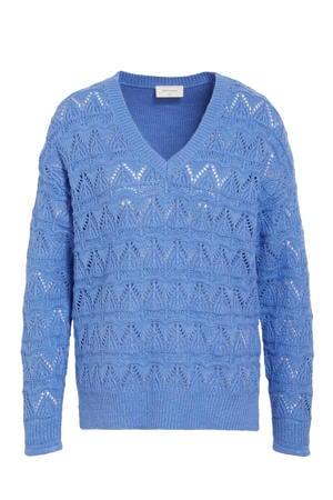 grofgebreide trui blauw