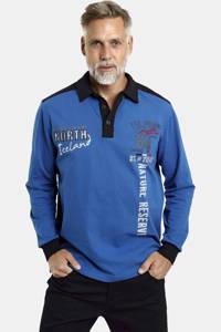 Jan Vanderstorm polo Plus Size Arlo met printopdruk kobaltblauw, Kobaltblauw