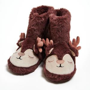 pantoffels rendier van imitatiebont donkerroze