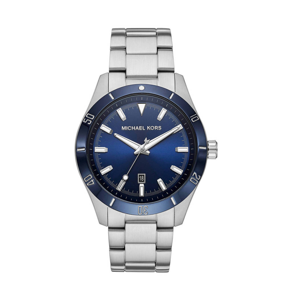 Michael Kors horloge MK8815 Layton zilver, Zilver/blauw