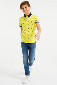 WE Fashion polo met contrastbies geel/donkerblauw/wit, Geel/donkerblauw/wit