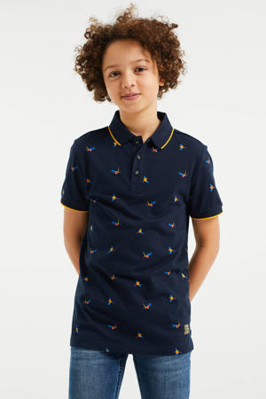 polo met all over print donkerblauw/geel
