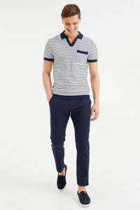 WE Fashion slim fit polo wit/blauw, Wit/blauw