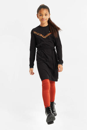 jurk met printopdruk zwart/bruin