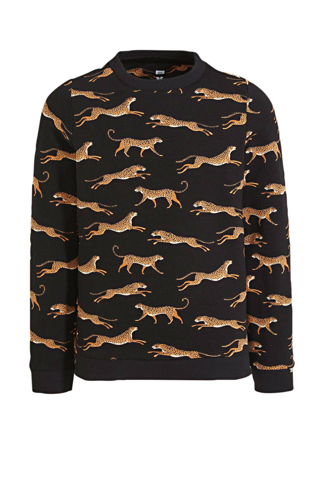 WE Fashion sweater met dierenprint zwart/bruin, Zwart/bruin