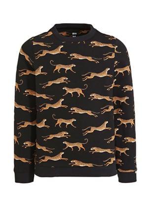 sweater met dierenprint zwart/bruin