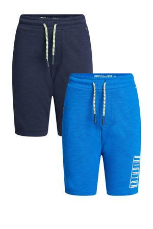 sweatshort - set van 2 kobaltblauw/donkerblauw