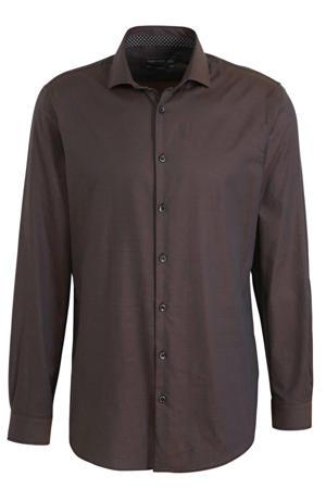 slim fit overhemd donkerbruin