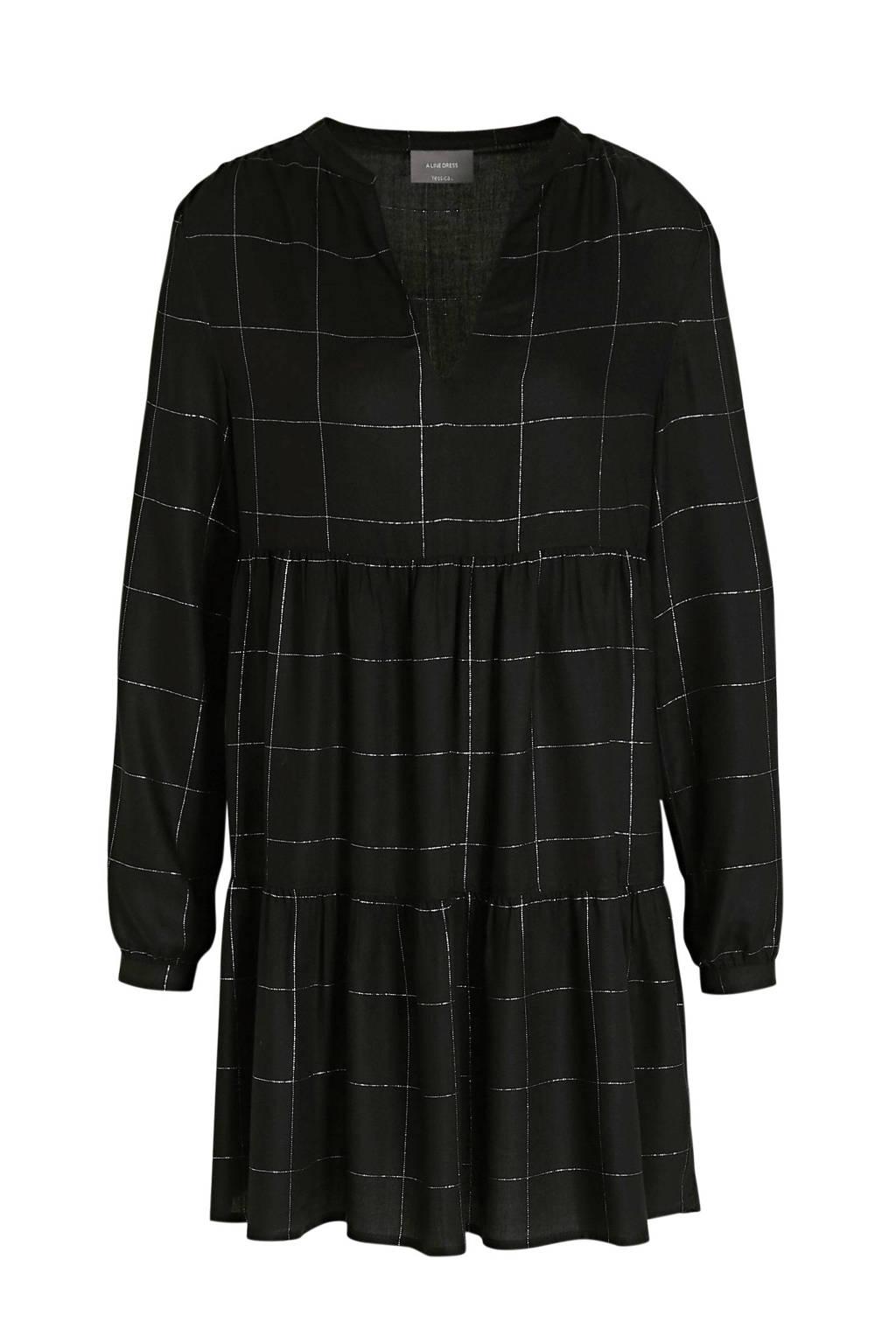 C&A Yessica geruite jurk zwart, Zwart