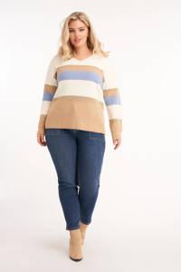 MS Mode gestreepte gebreide trui wit/lichtbruin/lichtblauw, Wit/lichtbruin/lichtblauw