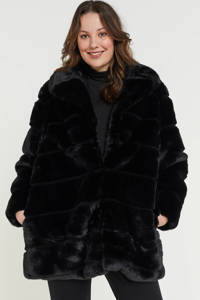 Simply Be imitatiebont winterjas zwart, Zwart