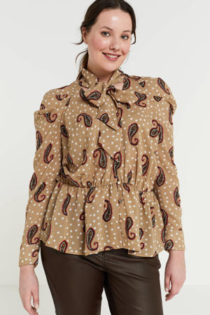 top met all over print en ruches beige/multi