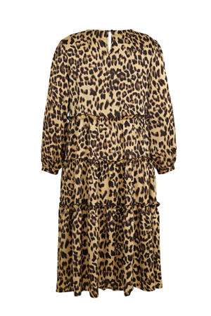 satijnen jurk met panterprint en volant lichtbruin/bruin/zwart