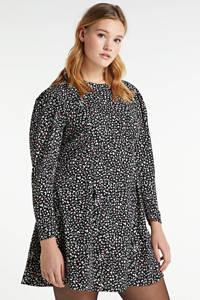 Simply Be A-lijn jurk Abby met all over print en open detail zwart/ecru/roze, Zwart/ecru/roze