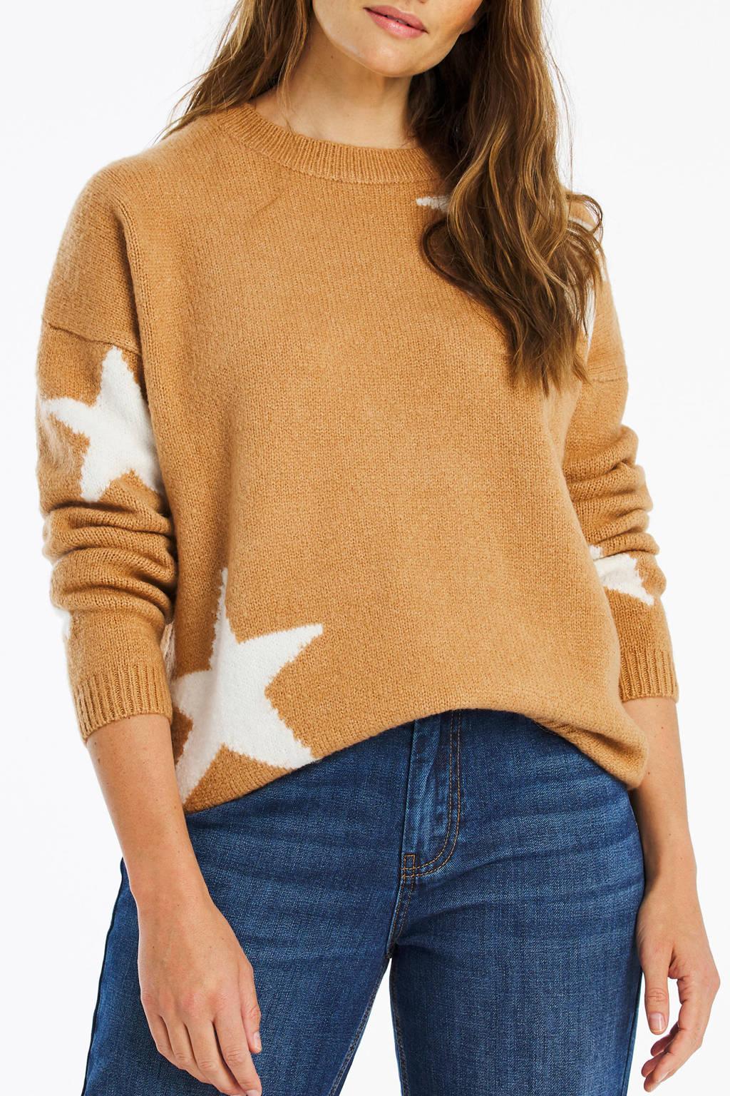 Simply Be fijngebreide trui met sterren camel/wit, Camel/wit