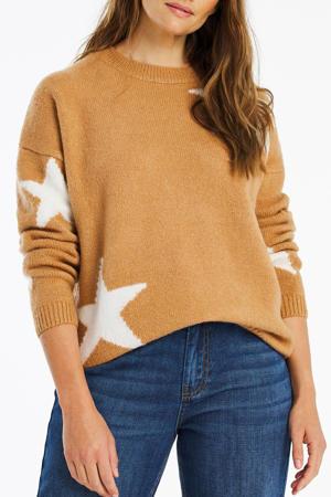 fijngebreide trui met sterren camel/wit