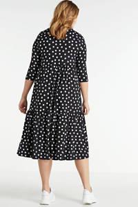 Simply Be jurk met stippen en plooien zwart/wit, Zwart/wit