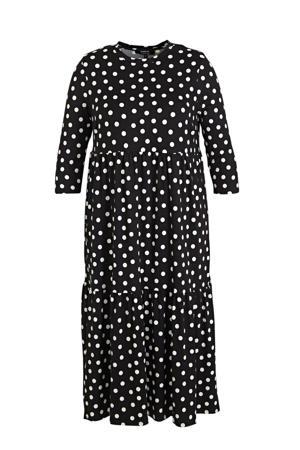 jurk met stippen en plooien zwart/wit