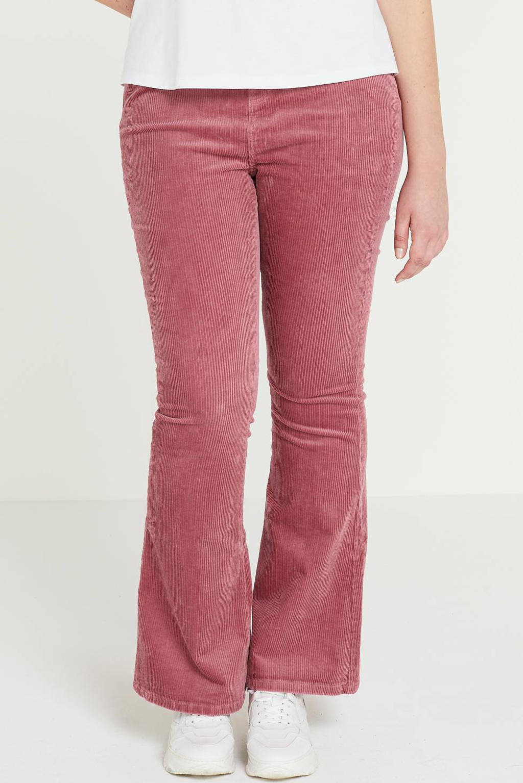 Simply Be corduroy high waist flared broek Chloe roze, Roze