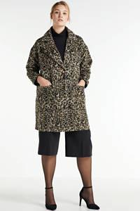 Simply Be  coat tussen met panterprint lichtbruin/bruin/zwart, Lichtbruin/bruin/zwart