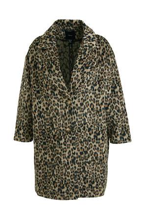 coat tussen met panterprint lichtbruin/bruin/zwart