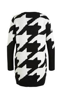 Simply Be gebreide jurk met pied-de-poule en glitters zwart/wit, Zwart/wit
