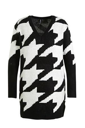 gebreide jurk met pied-de-poule en glitters zwart/wit