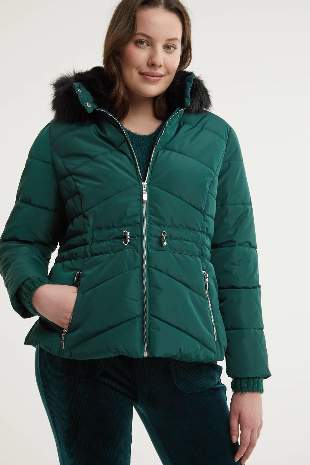 Simply Be gewatteerde jas donkergroen/zwart, Donkergroen/zwart