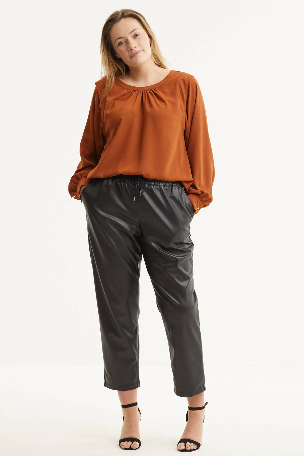 Simply Be imitatieleren straight fit broek zwart, Zwart