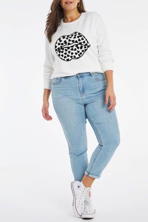 sweater met printopdruk ecru/zwart