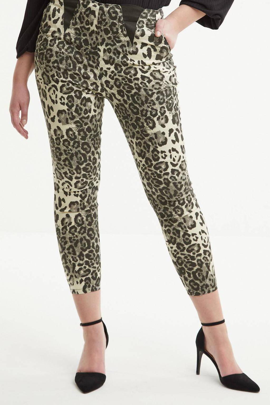 Simply Be high waist skinny tregging met panterprint ecru/donkergroen/antraciet, Ecru/donkergroen/antraciet