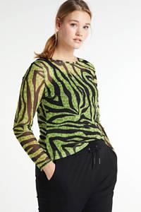 Simply Be semi-transparante mesh longsleeve met zebraprint en mesh groen/zwart, Groen/zwart