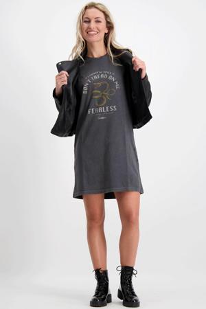 T-shirtjurk Fearless met printopdruk antraciet