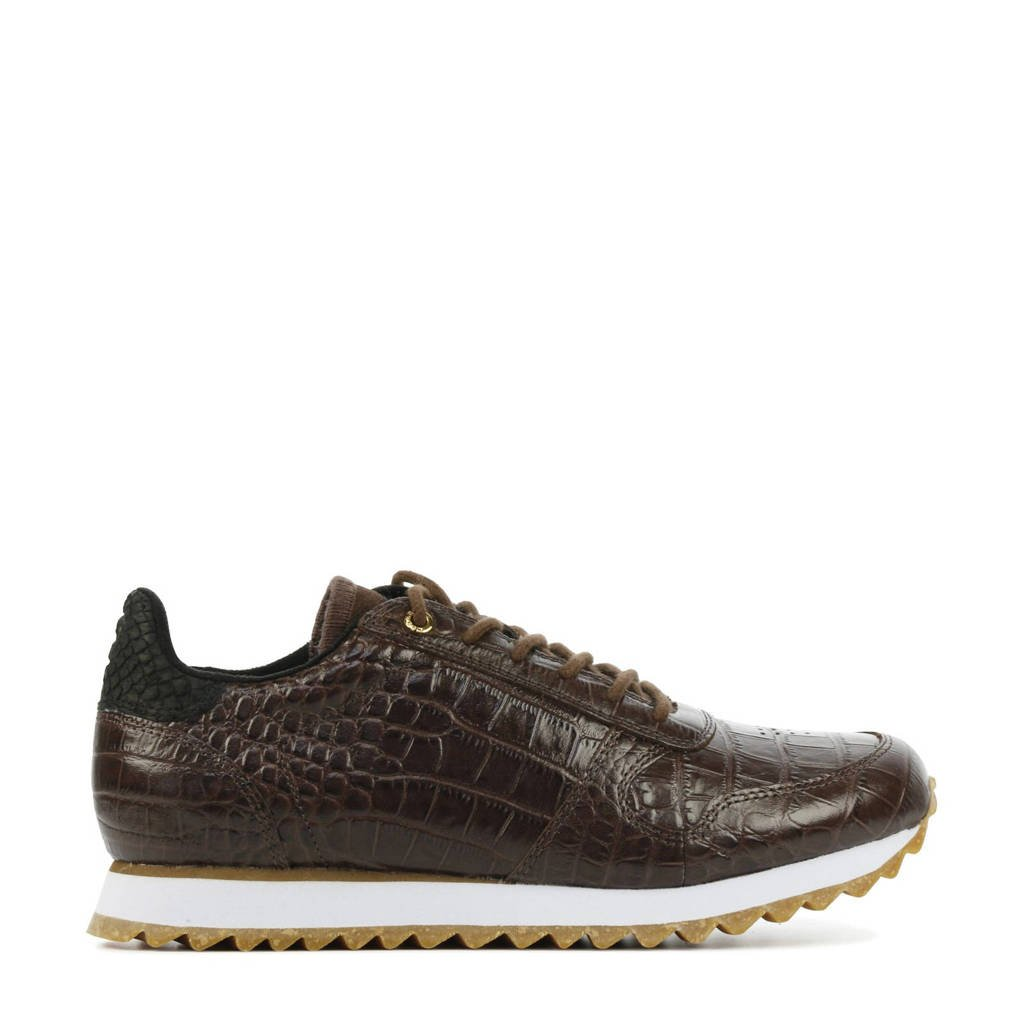 Woden Ydun Croco Shiny  leren sneakers met crocoprint bruin, Bruin
