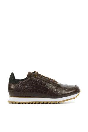 Ydun Croco Shiny  leren sneakers met crocoprint bruin