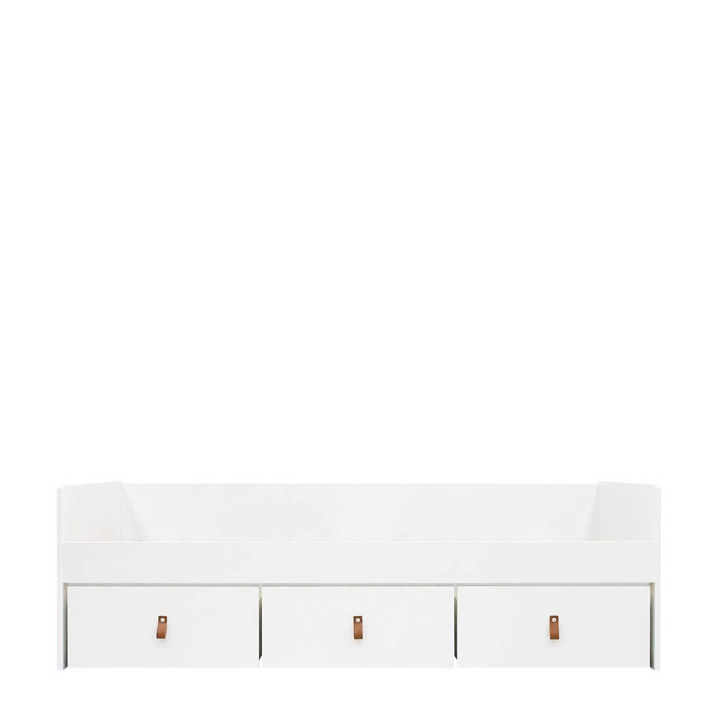 Bopita bedbank met 3 lades wit/naturel (excl.bodem) Indy (90x200 cm), White/Natural