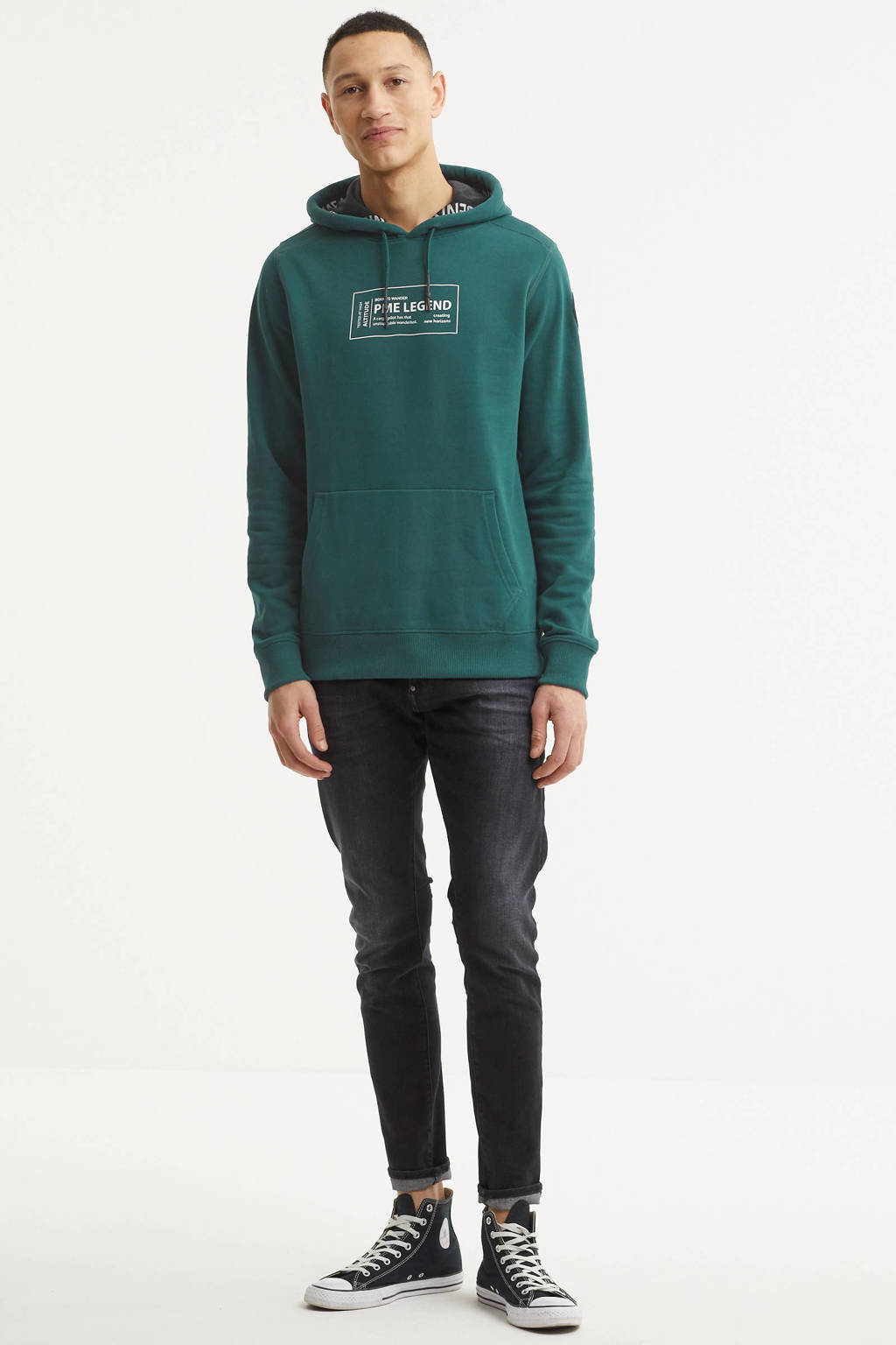 PME Legend hoodie met logo donkergroen, Donkergroen