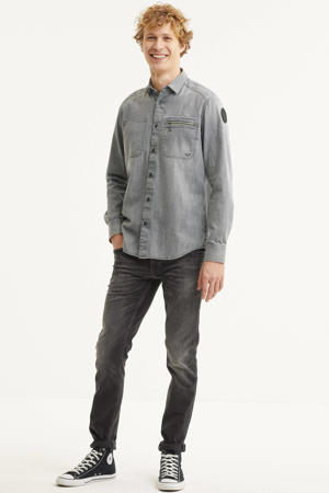 regular fit denim overhemd grijs
