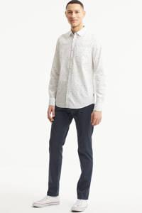 PME Legend regular fit overhemd met all over print wit/blauw, Wit/blauw